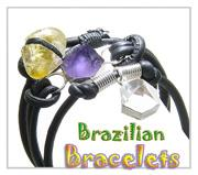 Brazilian Natural Gemstones and Crystals Amulet Unique Bracelets