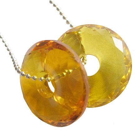 Business Attractor Talisman Citrine Gemstone Lucky Coin and Donut Jewelry