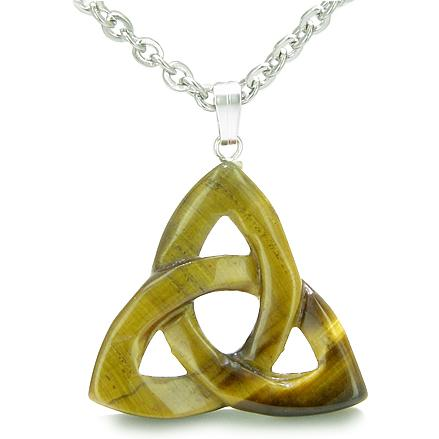 Celtic Protection Knots Natural Tiger Eye Gemstones Jewelry and Gifts