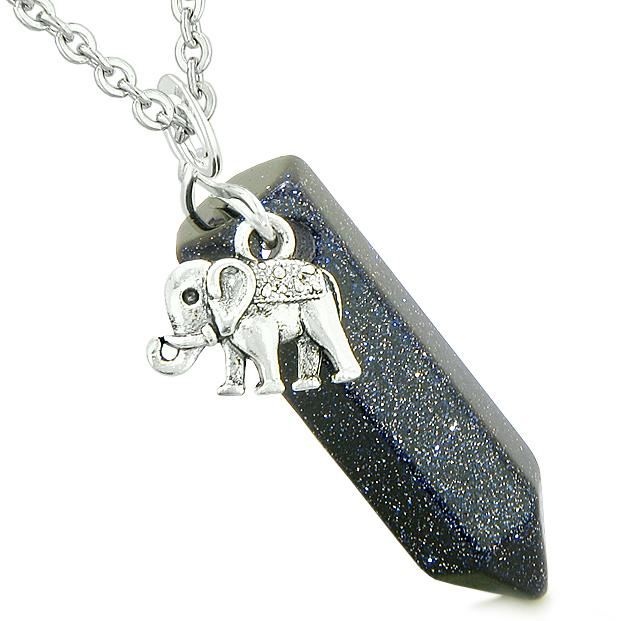 Lucky Elephant Good Luck Charms Amulets in Goldstone Crystals