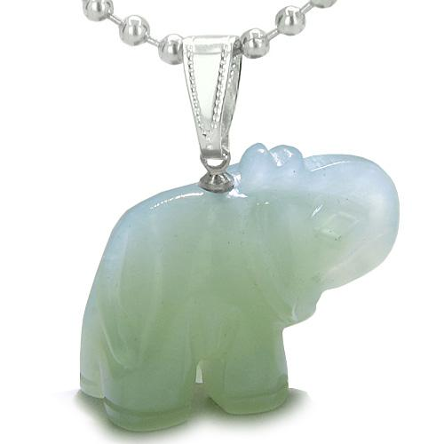 Lucky Elephant Good Luck Charms Amulets in Jade Gemstone