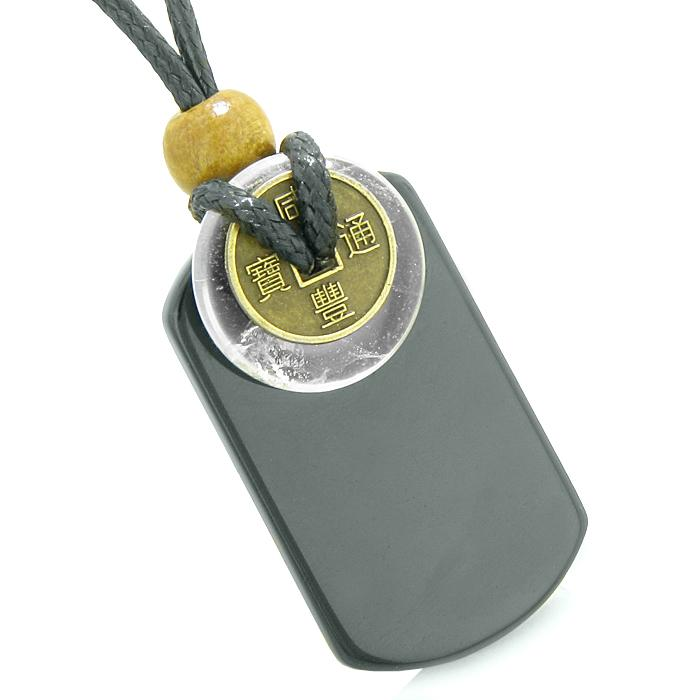 Protection Powers Crystal Quartz Gemstone Dog Tag Jewelry and Amulets