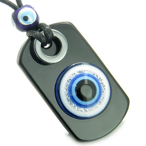Protection From Evil Eye Hematite Dog Tag Amulets and Jewelry