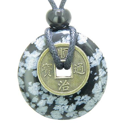 Evil Eye Protection Snowflake Obsidian Gemstone Lucky Donut and Coin Amulet Jewelry