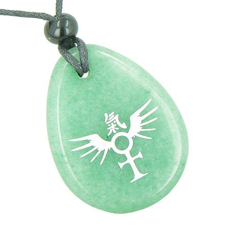 Ankh Powers of Life Amulets in Green Quartz and Aventurine Gemstone
