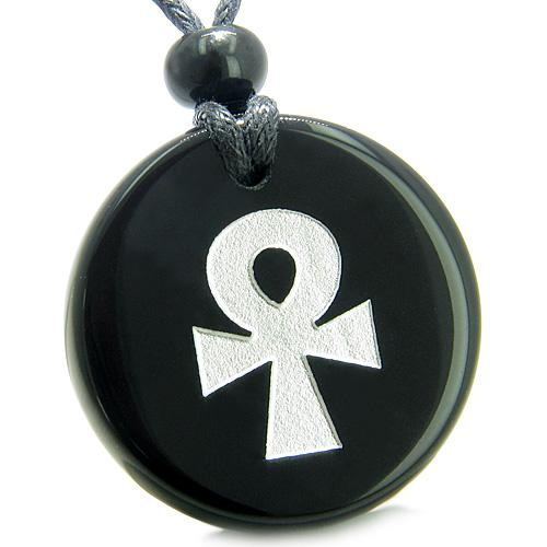 Ankh Powers of Life Amulets in Onyx and Agate Gemstone