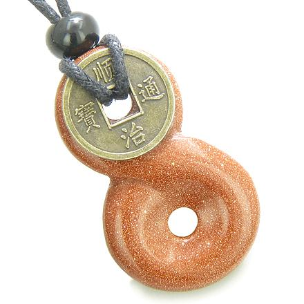 Feng Shui Lucky Donuts and Good Luck Coin Natural Goldstone Crystal Amulets