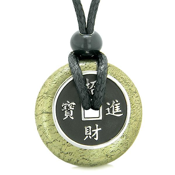 Feng Shui Lucky Donuts and Good Luck Coin Natural Pyrite Iron Gemstone Amulets