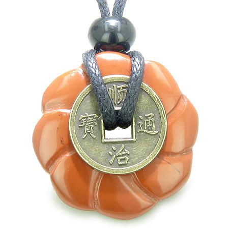 Feng Shui Lucky Donuts and Good Luck Coin Natural Red Jasper Gemstone Amulets