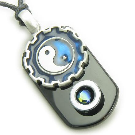 Yin Yang Feng Shui Good Luck Symbols Dog Tag Jewelry Amulets and Talismans