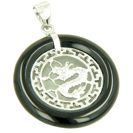 Feng Shui Courage Magic Dragon Natural Natural Onyx and Agate Gemstones Jewelry