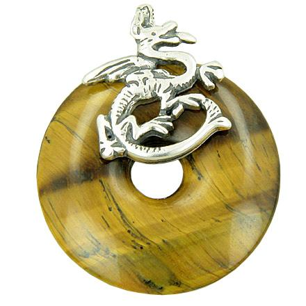 Feng Shui Courage Magic Dragon Natural Tiger Eye Gemstones Jewelry and Gifts