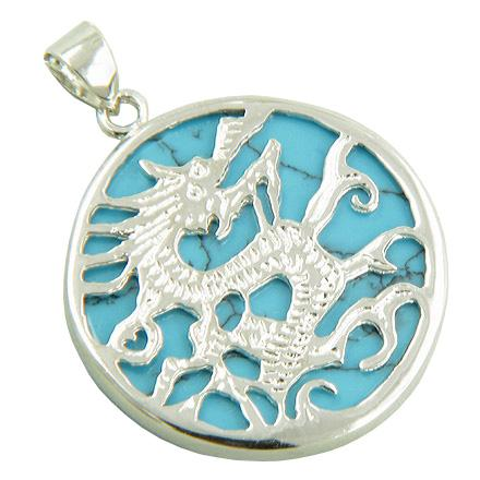 Feng Shui Courage Magic Dragon Natural Turquoise Gemstones Jewelry and Gifts