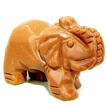 Feng Shui Charms Lucky Elephant Amulets in Goldstone Crystals