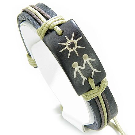 Unique Handcrafted Bone and Leather Good Luck Protection Powers Bracelets Jewelry