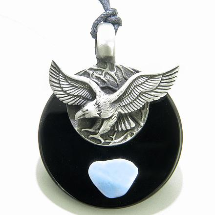 Gemstone Blue Lace Agate Medallion Amulets and Jewelry