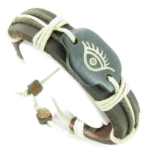 Handcrafted Leather and Bone Unique Bracelets Protection Good Luck Powers Jewelry