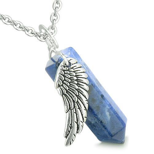 Good Luck Powers Sodalite Gemstone Angel and Spiritual Cross Jewelry Gifts