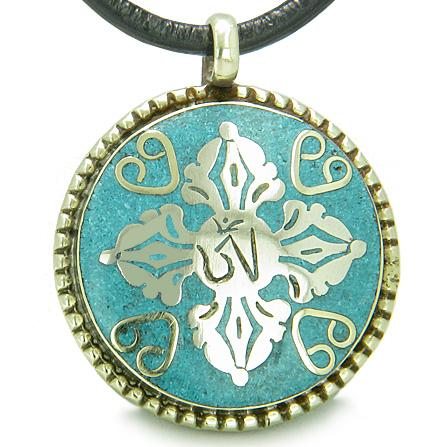 Good Luck Powers Turquoise Gemstone Medallion Jewelry and Amulets