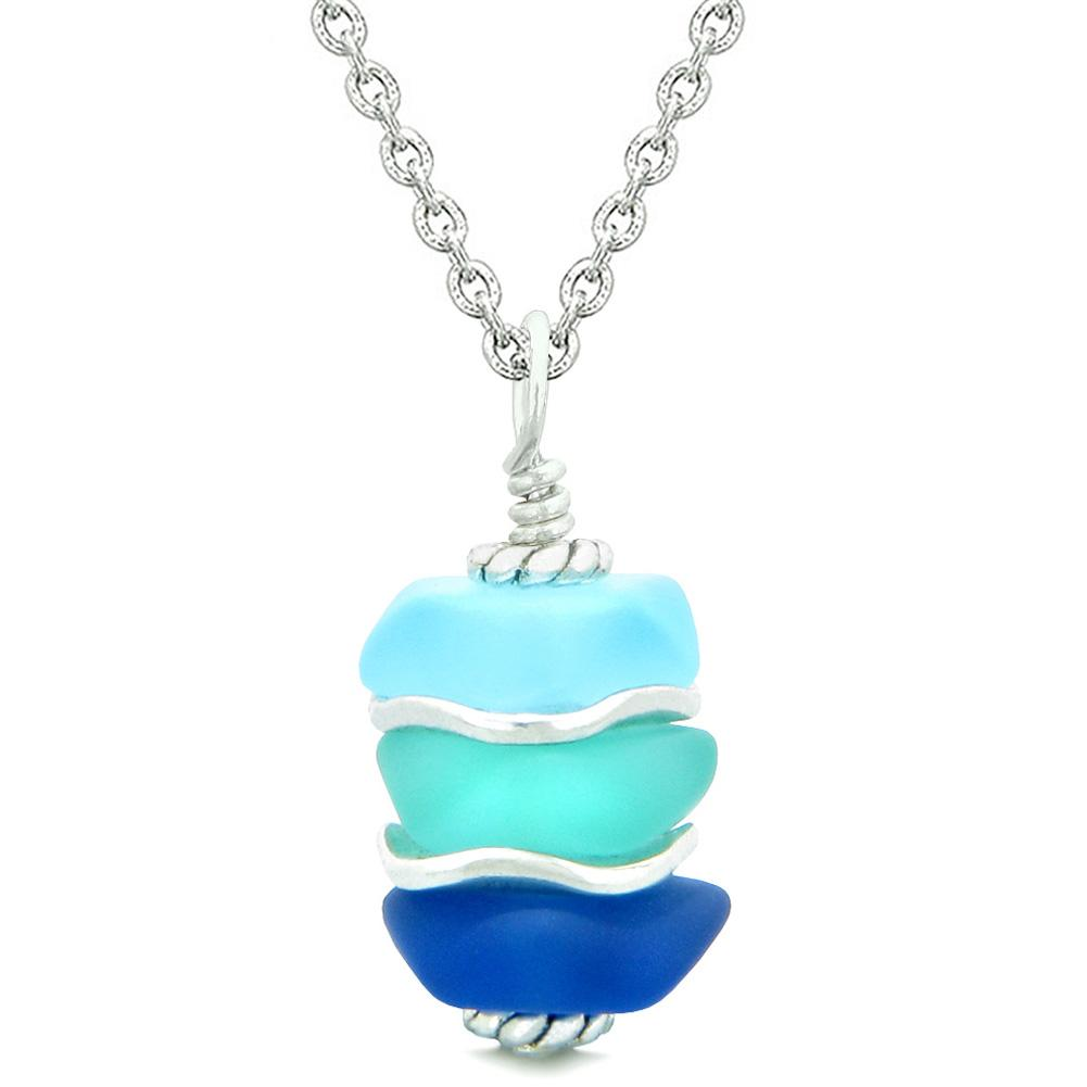 Good Luck Charms Sea Glass Jewelry Icy Frosted Waves Necklaces Amulets and Talismans