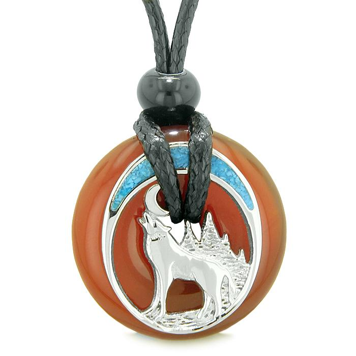 Wolves Natural Carnelian Gemstone Jewelry Necklaces Protection Powers Amulets