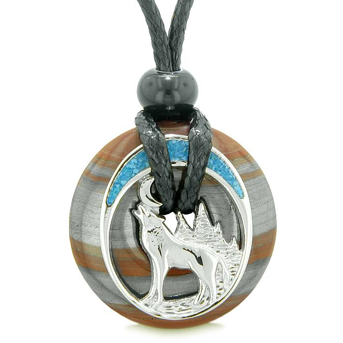 Wolves Natural Dragon Eye Gemstone Jewelry Necklaces Protection Powers Amulets