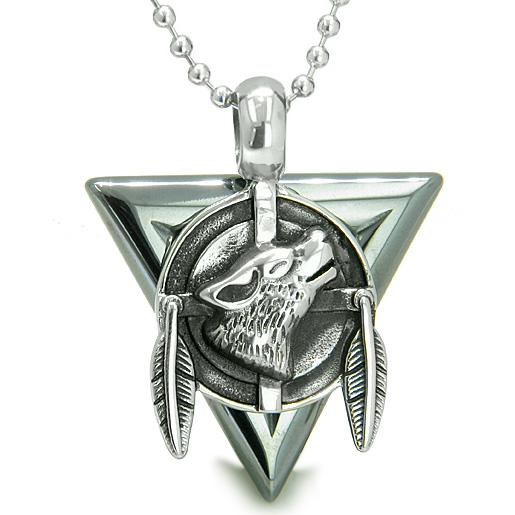 Wolves Natural Hematite Gemstone Jewelry Necklaces Protection Powers Amulets