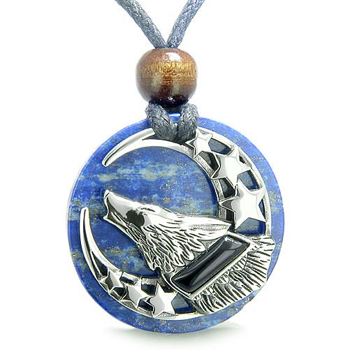 Wolves Natural Lapis Lazuli Gemstone Jewelry Necklaces Good Luck Powers Amulets