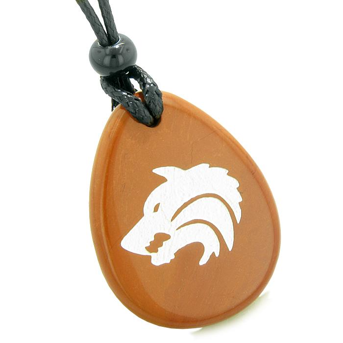 Wolves Natural Jasper Gemstone Jewelry Necklaces Will Powers Amulets