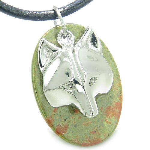 Wolves Natural Unakite Gemstone Jewelry Necklaces Spiritual Powers Amulets