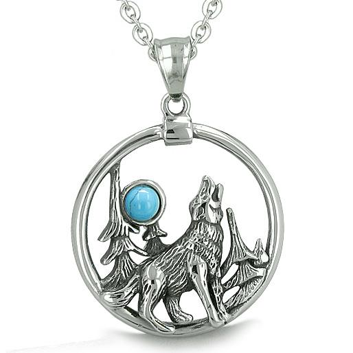Wolf and Moon Necklaces Jewelry Wild Spiritual Powers Amulets and Talismans Gifts