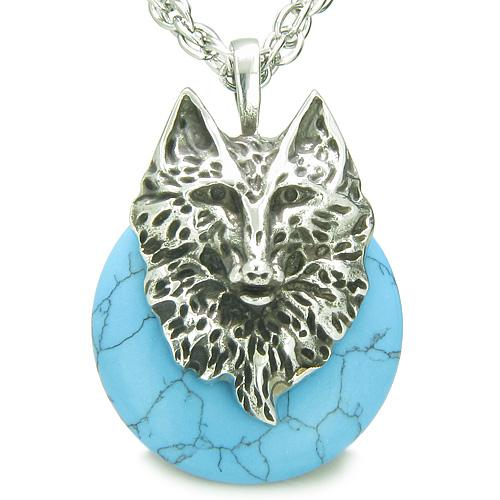 Wolves Lucky Donut Necklaces Jewelry Wild Spiritual Powers Amulets and Talismans Gifts