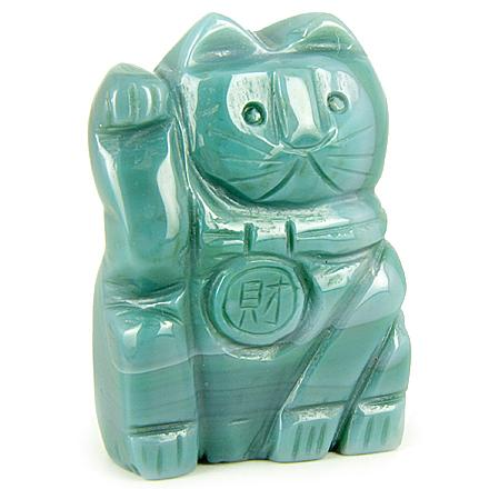 Crystal Lucky Maneki Neko Cat Pocket Totem and Gemstone Carvings Amulets Good Luck Gifts