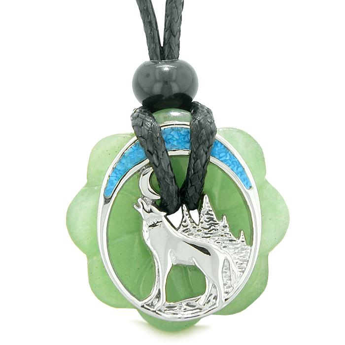 Wolf Green Quartz and Aventurine Natural Gemstone Jewelry Good Luck Powers Amulets
