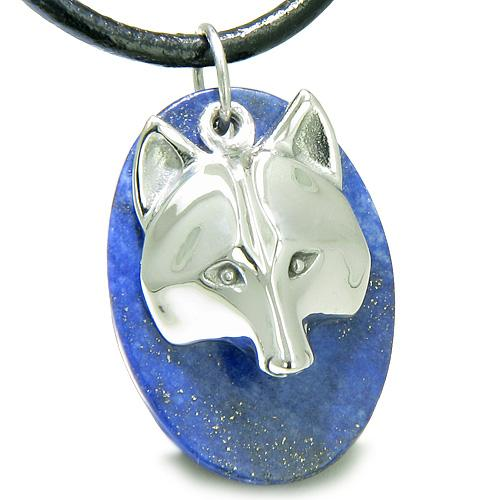 Wolf Lapis Lazuli Natural Gemstone Jewelry Necklaces Good Luck Powers Amulets