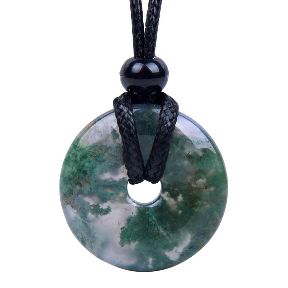 Green Moss Agate Gemstone Lucky Donut and Coin Amulet Jewelry