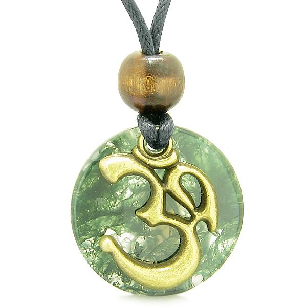 Green Moss Agate Gemstone Medallion Jewelry and Amulets