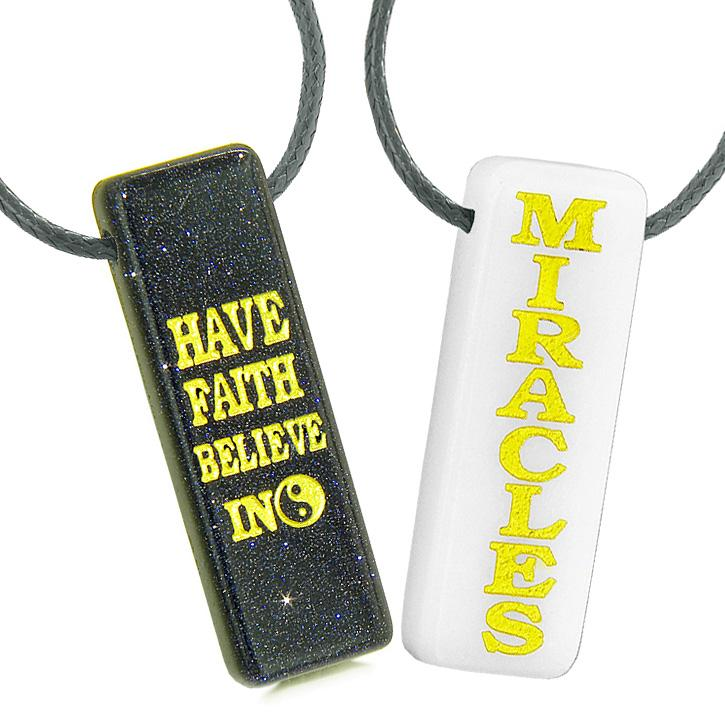 Inspirational Have Faith Believe in Miracles Couples and Best Friends Good Luck Jewelry Amulets