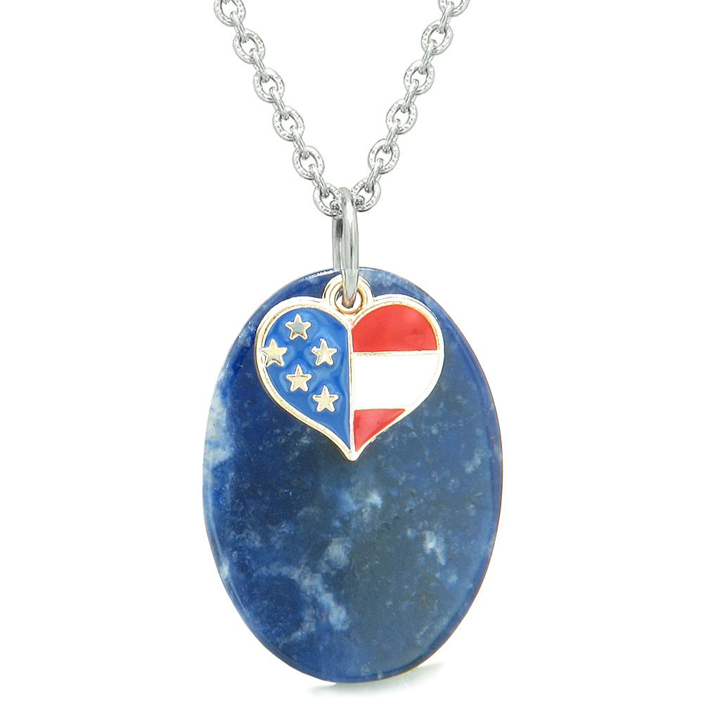 Healing Powers Sodalite Gemstone American Pride Flag Jewelry and Gifts