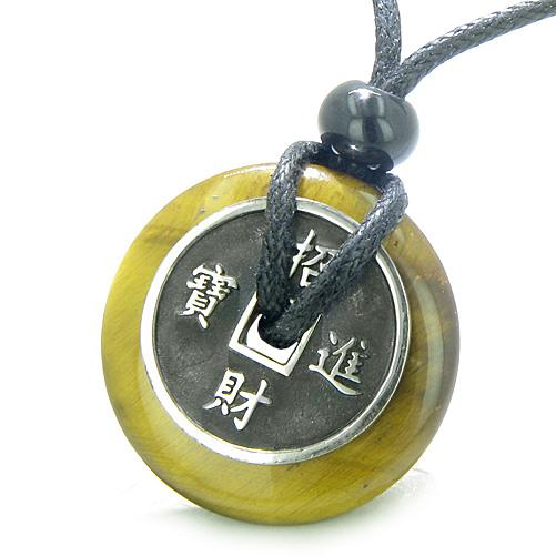 Healing Powers Tiger Eye Gemstone Protection Talisman Lucky Coin and Donut Jewelry
