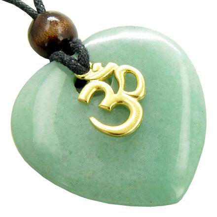 Unique Natural Green Quartz and Aventurine Lucky Crystal Hearts Necklaces Jewelry and Amulets