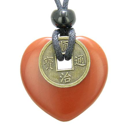 Heart Shaped Lucky Coin Amulets Pendants and Necklaces Jewelry