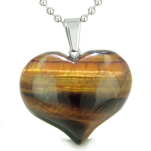 Unique Natural Tiger Eye Lucky Crystal Hearts Necklaces Jewelry and Amulets