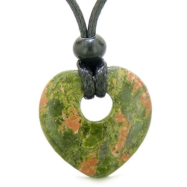 Unique Natural Unakite Lucky Crystal Hearts Necklaces Jewelry and Amulets
