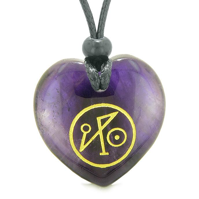 Natural Amethyst and Purple Quartz Lucky Gemstone Hearts Necklaces Jewelry and Amulets