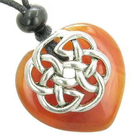 Natural Carnelian Lucky Gemstone Hearts Necklaces Jewelry and Amulets