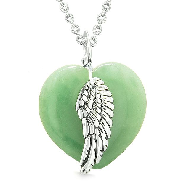 Natural Green Aventurine and Quartz Lucky Gemstone Hearts Necklaces Jewelry and Amulets