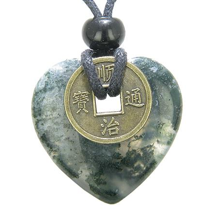 Natural Green Moss Agate Lucky Gemstone Hearts Necklaces Jewelry and Amulets