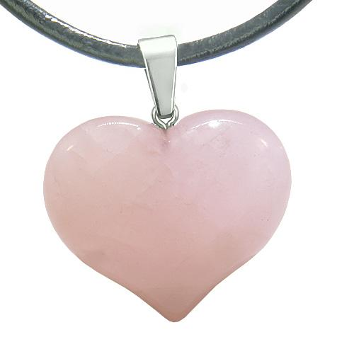 Natural Rose Quartz Lucky Gemstone Hearts Necklaces Jewelry and Amulets