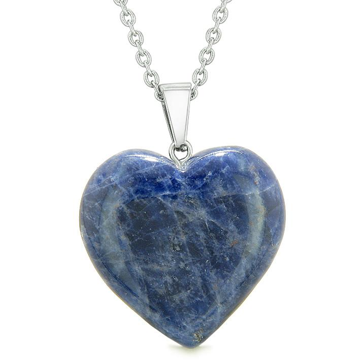 Natural Sodalite Lucky Gemstone Hearts Necklaces Jewelry and Amulets